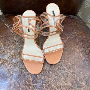 ZARA brown & clear heels sandals 7